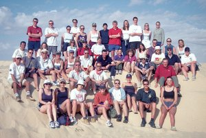 The 1999 Dryland Fieldclass (to Tunisia). In the picture are Dave, Giles and lots of fantastic BSc Geography graduates (Oh - and a current BBC weather presenter).