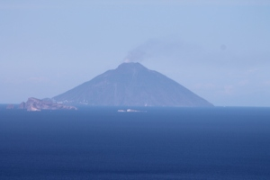 The plume at Stromboli from a distance.