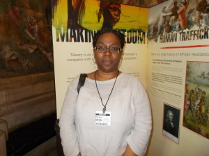 Carol Dixon in front of the introductory panel for the Making Freedom exhibition (Houses of Parliament, 9th June 2014)