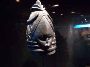 A mask displayed in the exhibition, Bois Sacré: Initiation dans les forêts guinéennes [Sacred Wood: Initiation in the Guinean Forest]  (Quai Branly Museum, Paris - April, 2014). Photo: Carol Dixon