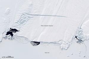 Polynyas near Pine Island Glacier, Antarctica.  NASA, CC BY